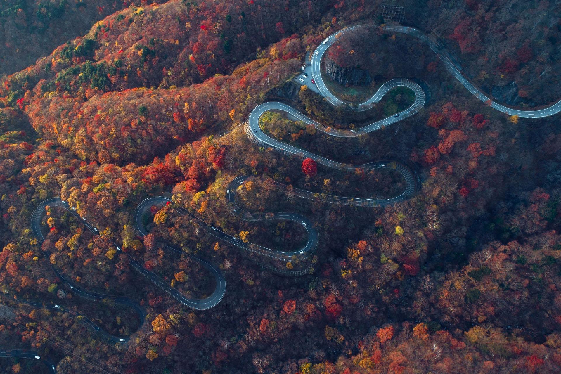 日光いろは坂の紅葉の風景 栃木の風景
