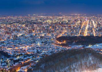 冬の北海道 大通公園と札幌の町並み 北海道の風景