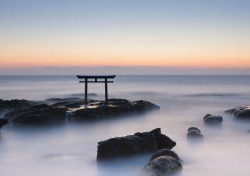 大洗磯前神社 神磯の鳥居の風景 茨城の風景