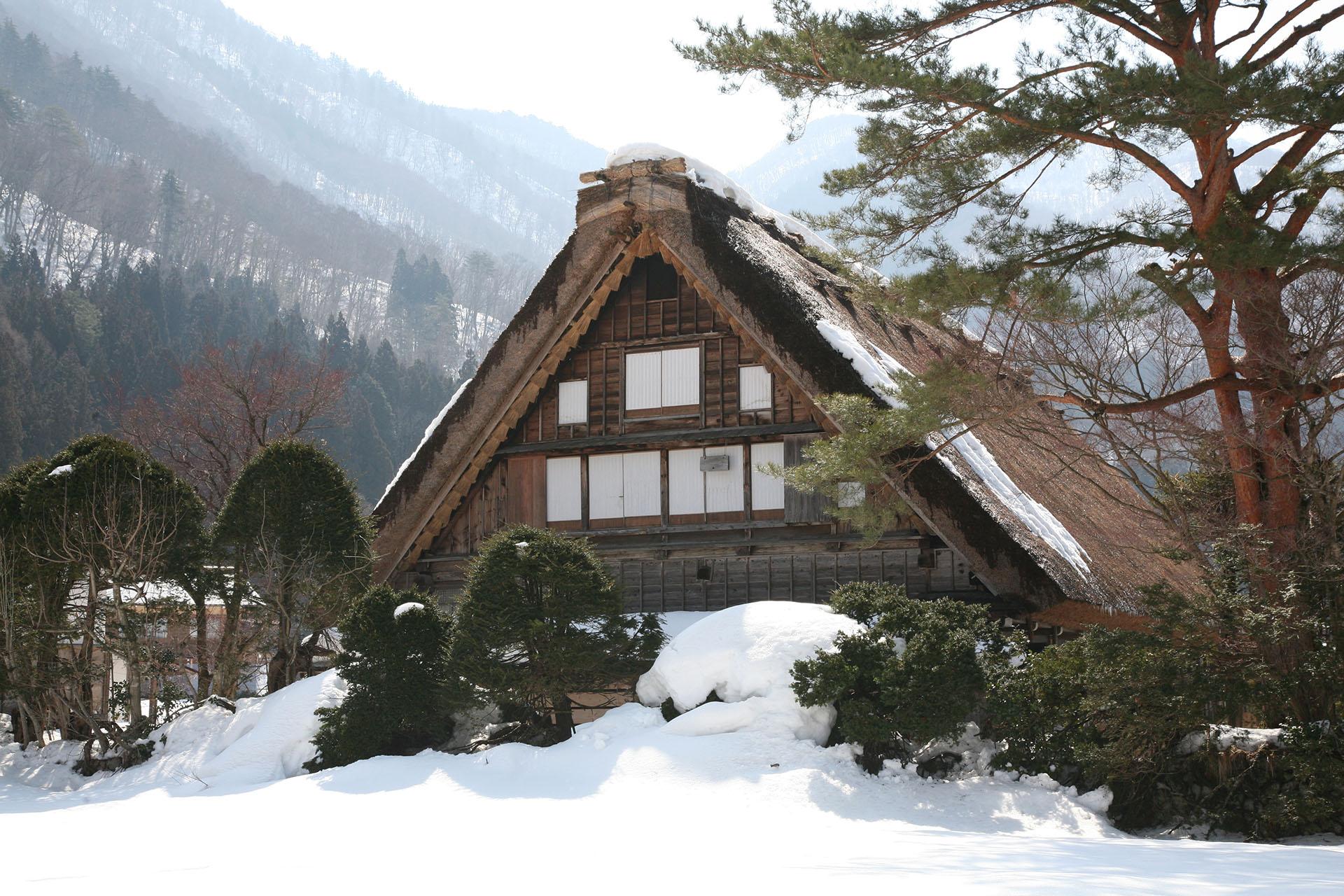 冬の五箇山 雪の合掌造りの家屋 富山の風景