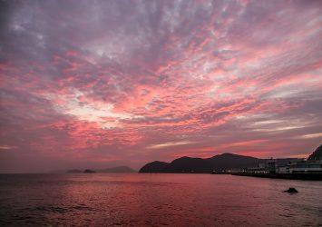 夜明けの二見浦の風景 三重の風景