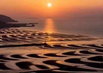 夕暮れの御輿来海岸 熊本の風景