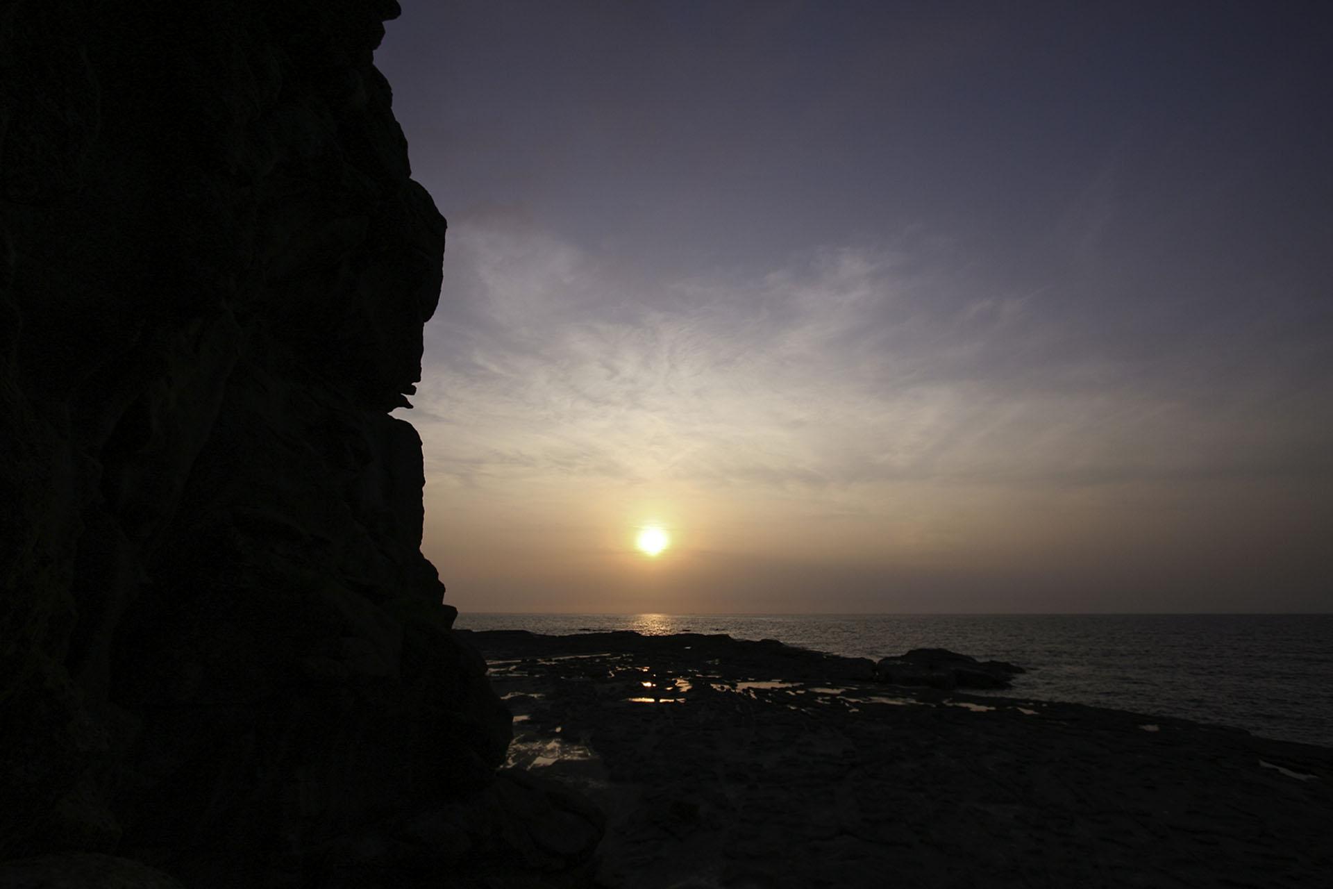 夕暮れの千畳敷 千畳敷の夕日の風景 青森の風景