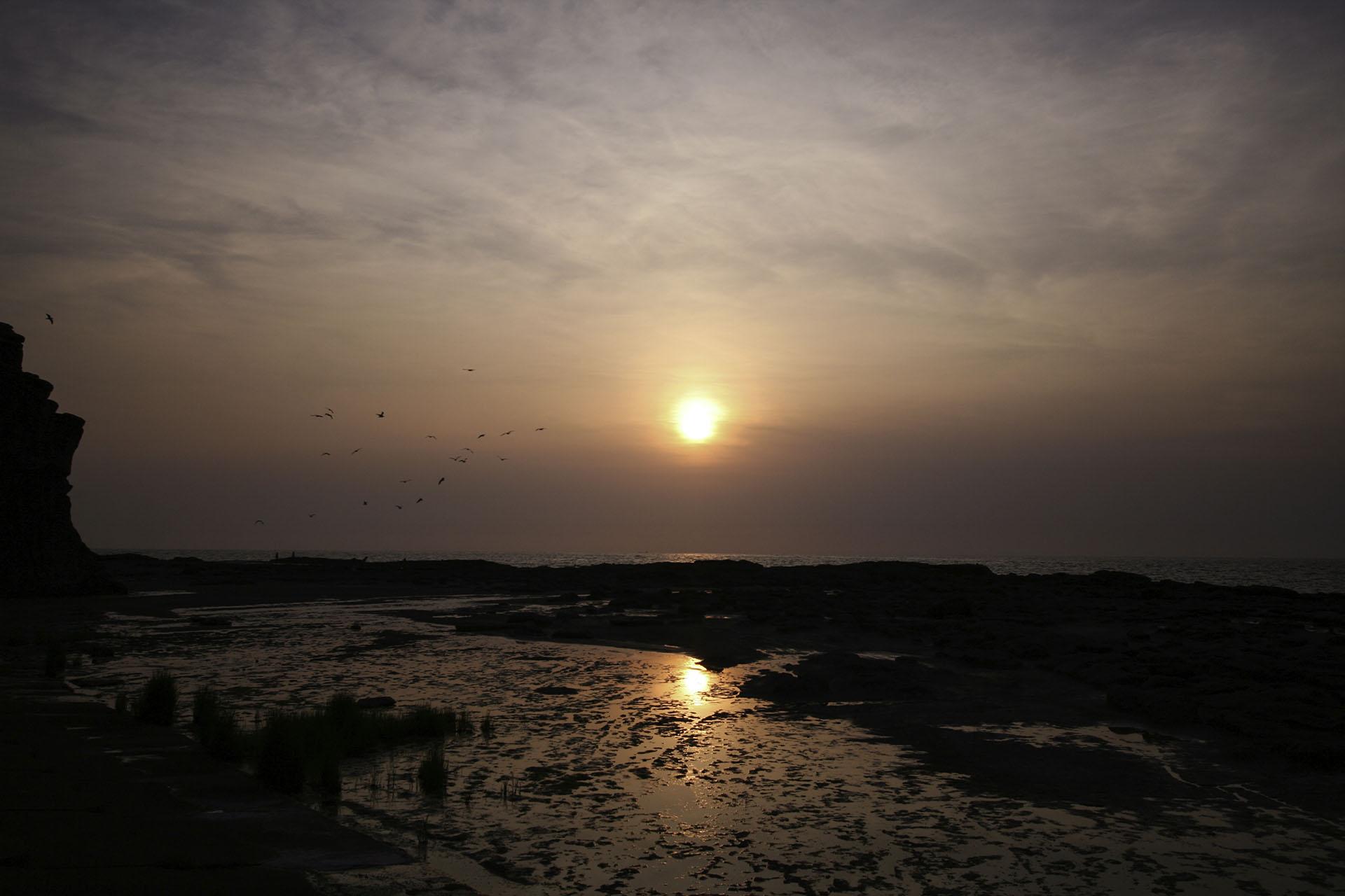 千畳敷の夕日 青森の風景