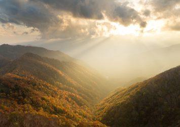 秋の奥日光 夕暮れの半月山展望台からみる風景 栃木の風景