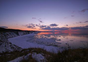 夕暮れの能取岬 北海道の風景