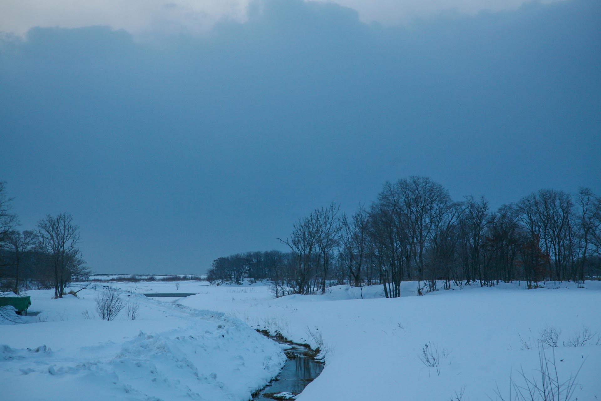 北海道の冬の風景 三月の石狩