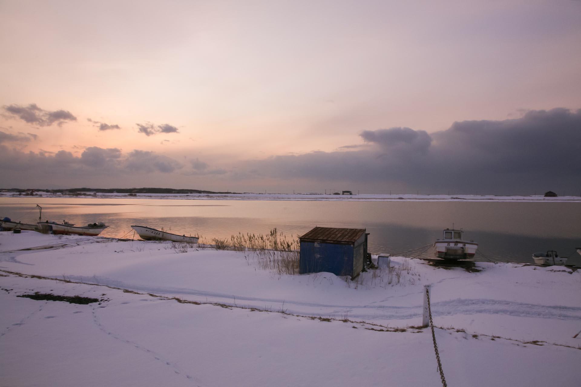 北海道の冬の風景 三月の石狩川