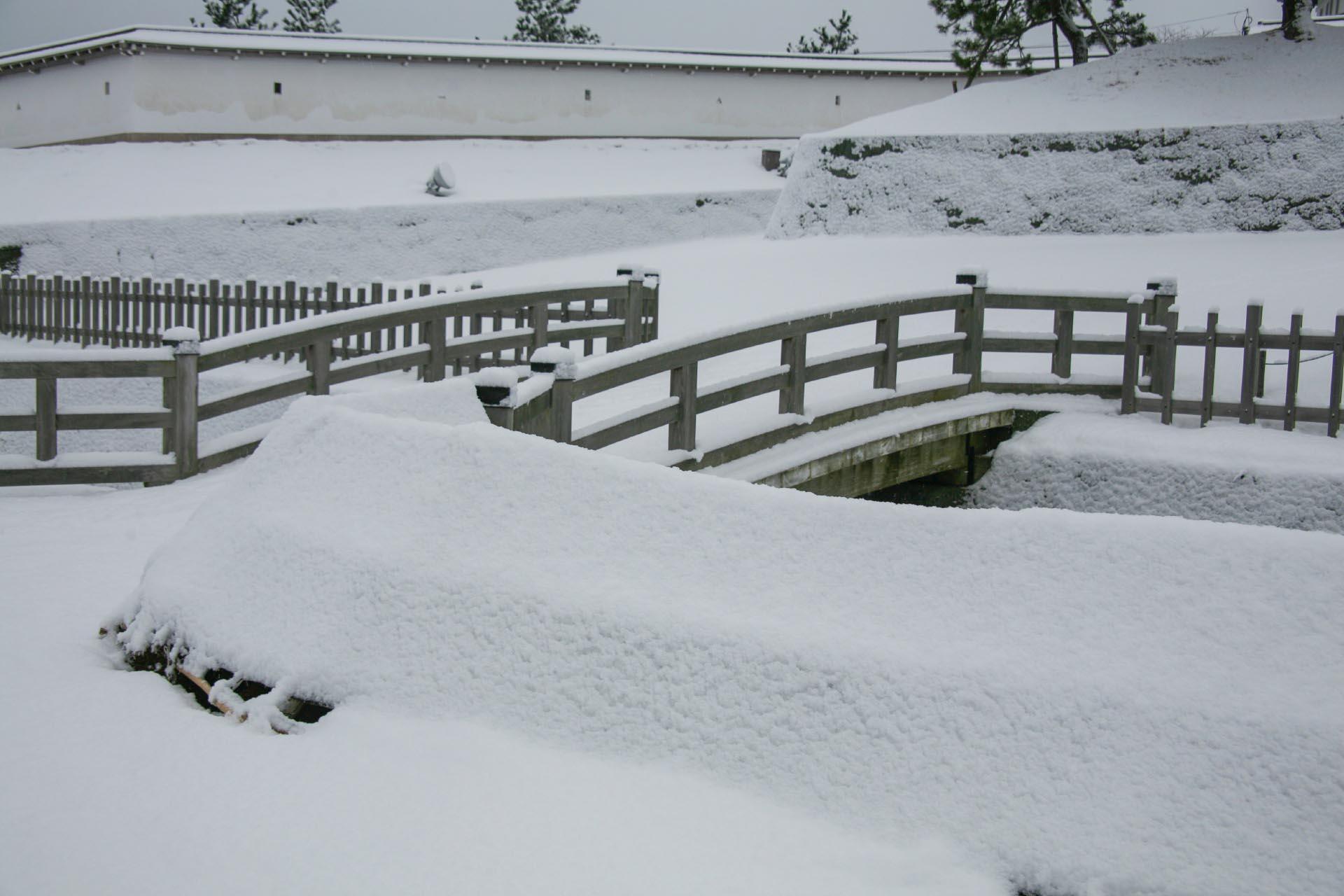 北海道の冬の風景 十二月の松前城