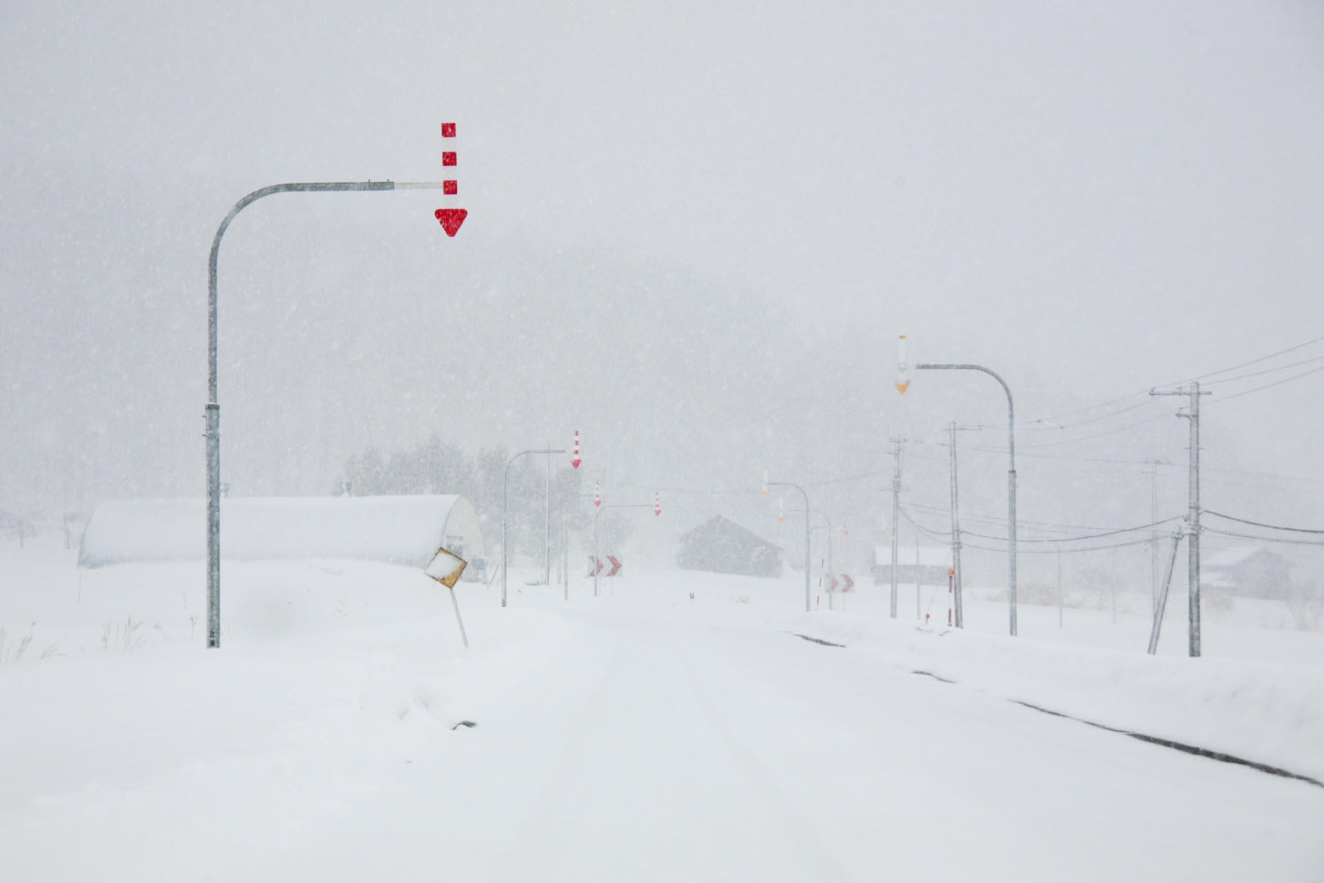 北海道の冬の風景 三月の国道452号線 三笠市~芦別市