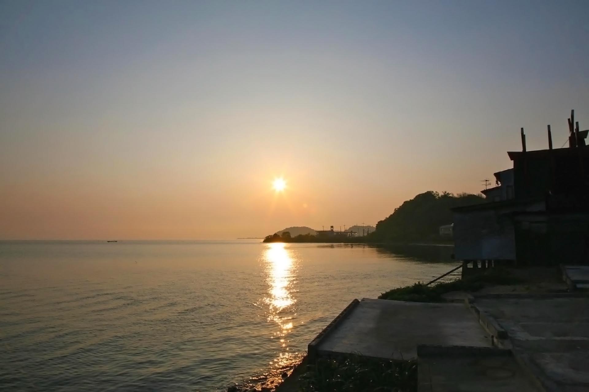 朝の宍道湖の風景 島根の風景