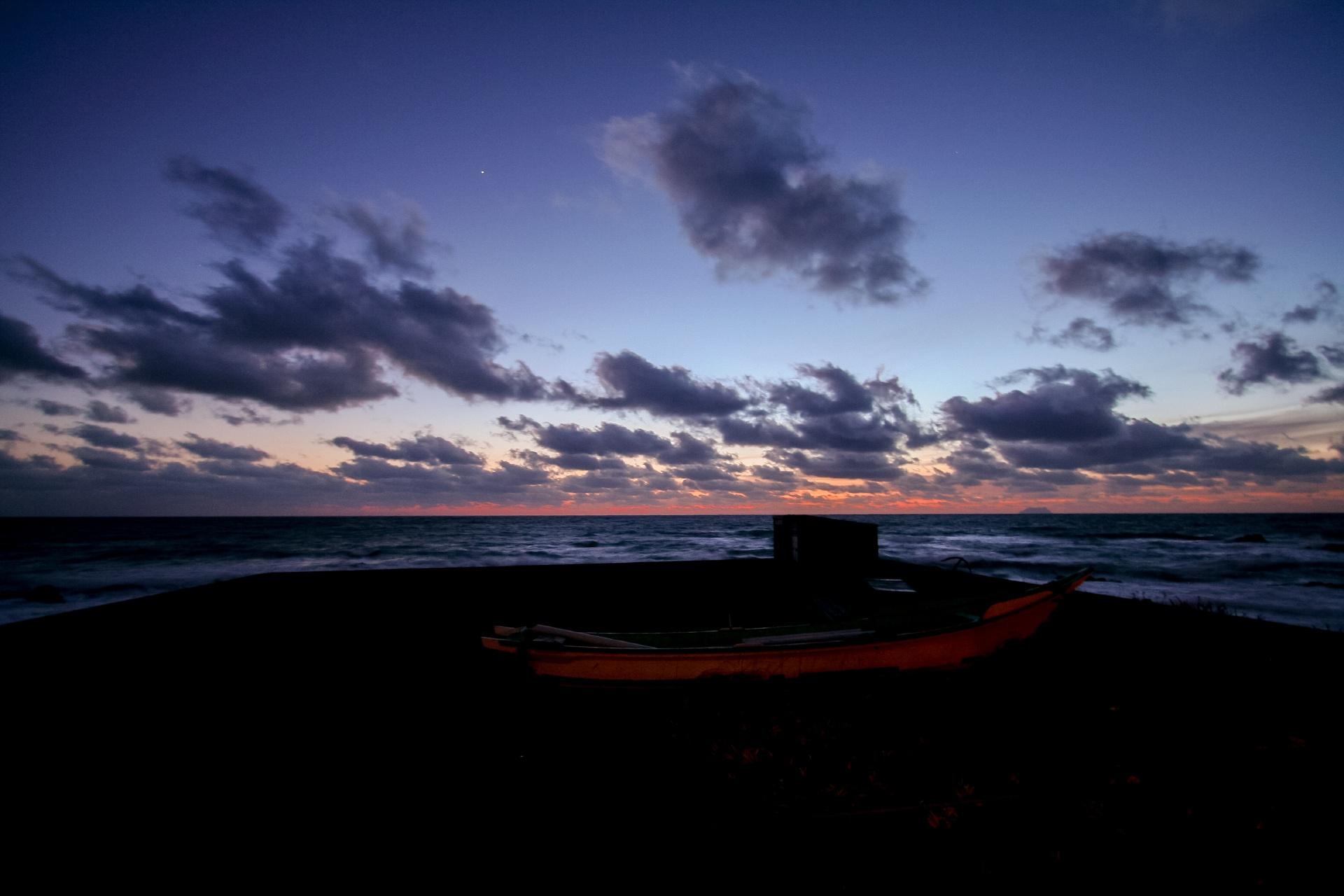夕暮れの海 北海道の風景