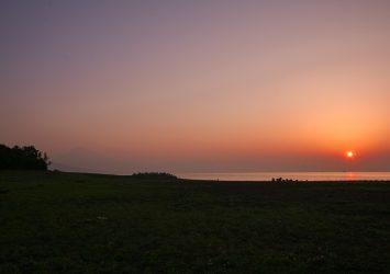 朝の三保の松原の風景 静岡の風景
