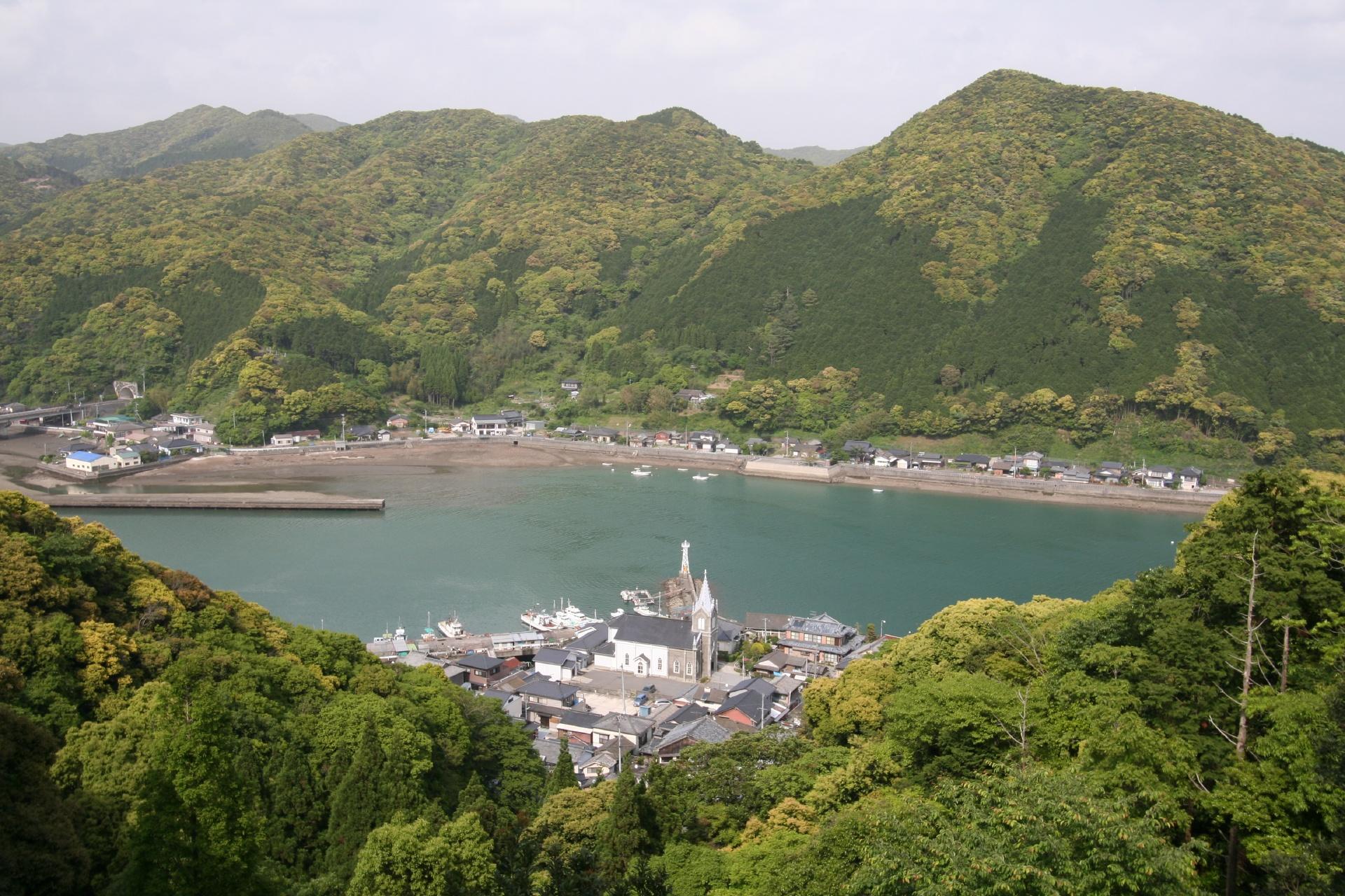 﨑津教会と崎津集落の風景 熊本の風景