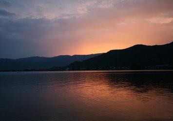 夏の夕暮れの琵琶湖の風景 滋賀の風景