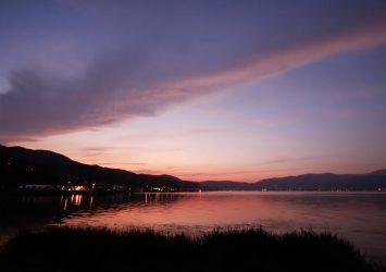 諏訪湖の夕焼け 長野の風景