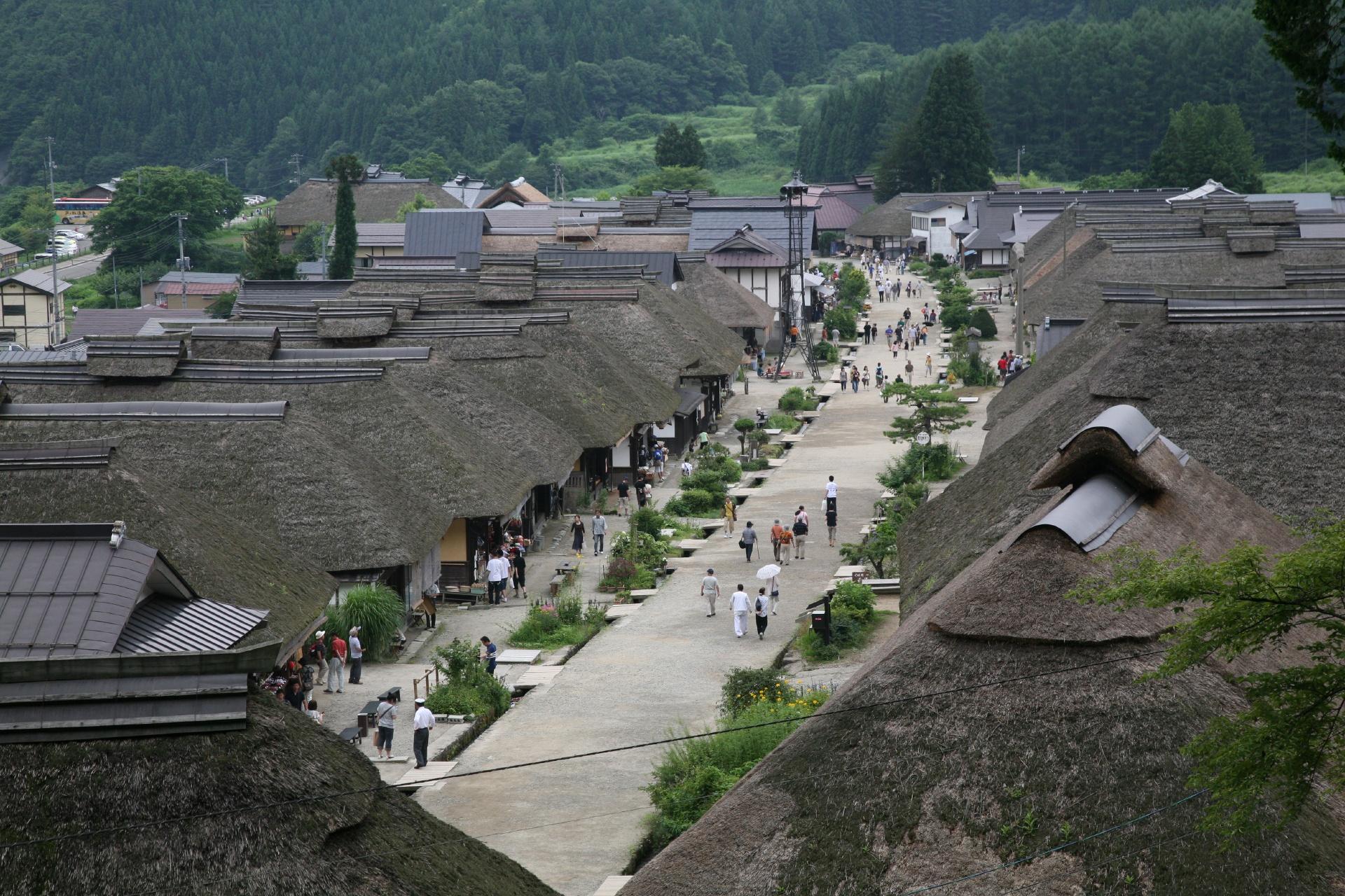 夏の大内宿 福島の風景