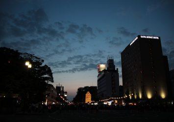 秋田の夏の夜の風景 秋田の風景