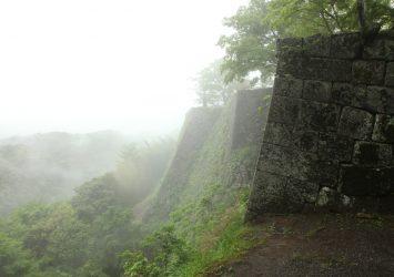 雨の岡城 大分の風景