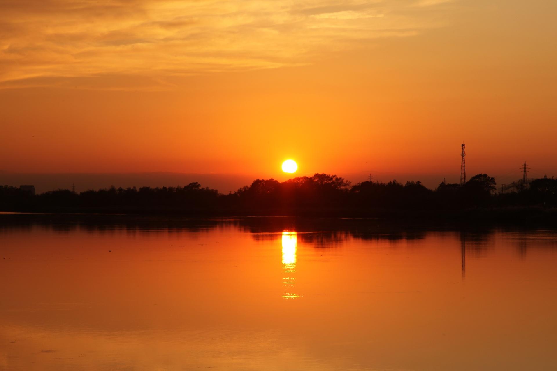 石巻の日の入りの風景 宮城の風景