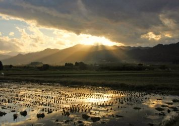 秋の里山 夕暮れの会津美里町 福島の風景