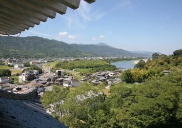 川島城から見る吉野川と町並み 徳島の風景