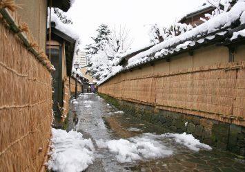 雪の金沢 「長町武家屋敷通り」の風景 冬の石川の風景