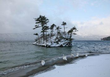 冬の朝の十和田湖 青森の風景