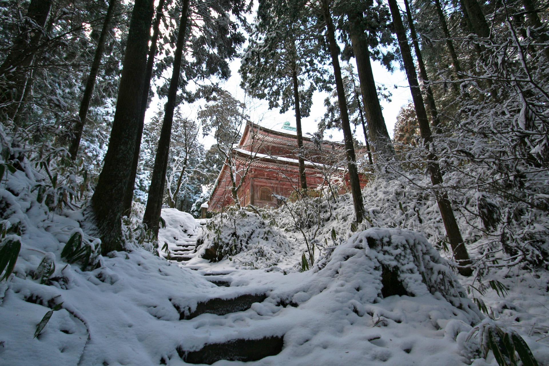 雪の比叡山 滋賀の風景