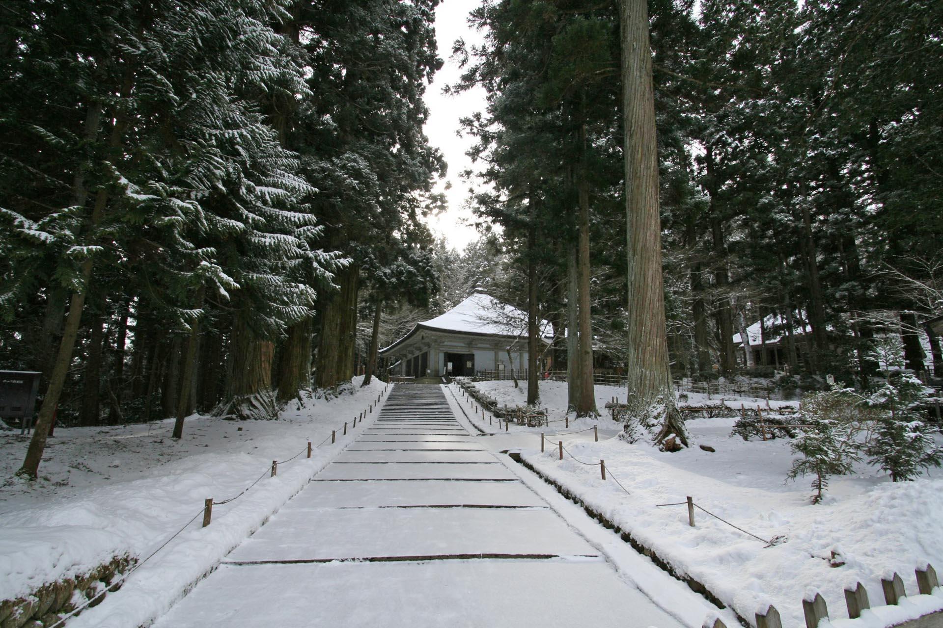冬の中尊寺 岩手の風景