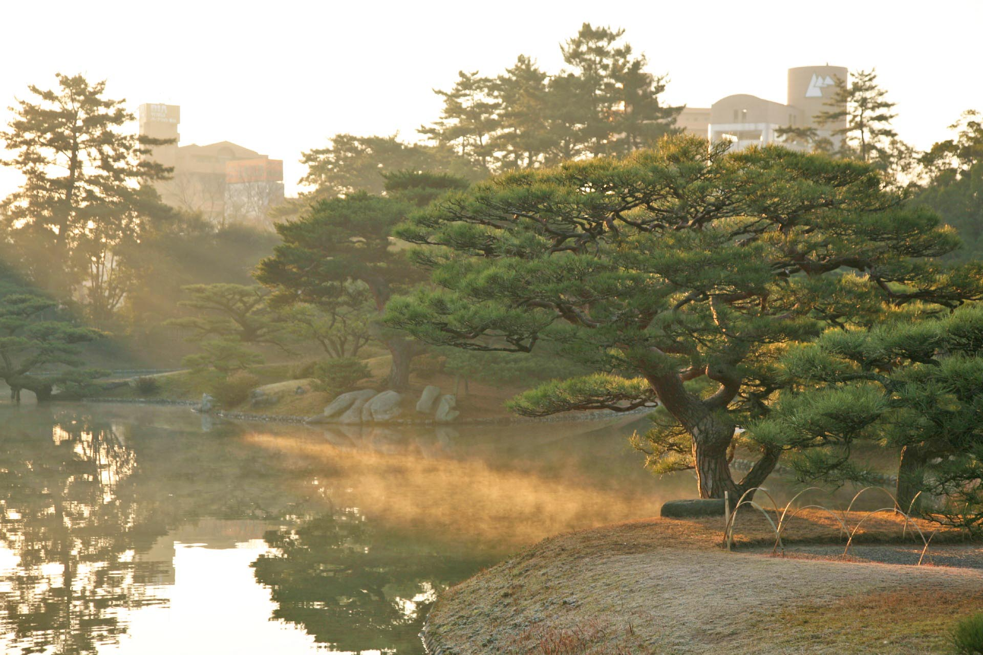 冬の朝の栗林公園 香川の風景