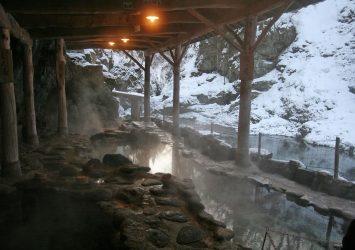 冬の作並温泉 宮城の風景