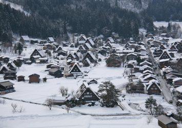 冬の白川郷の風景 岐阜の風景