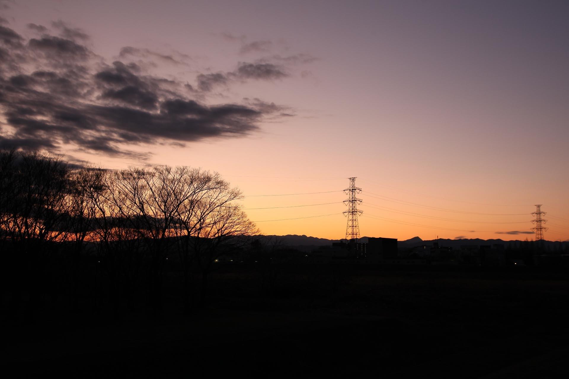 冬の夕暮れの風景 埼玉の風景