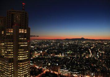 東京の夜景 都庁と東京の町並みと富士山 東京の風景
