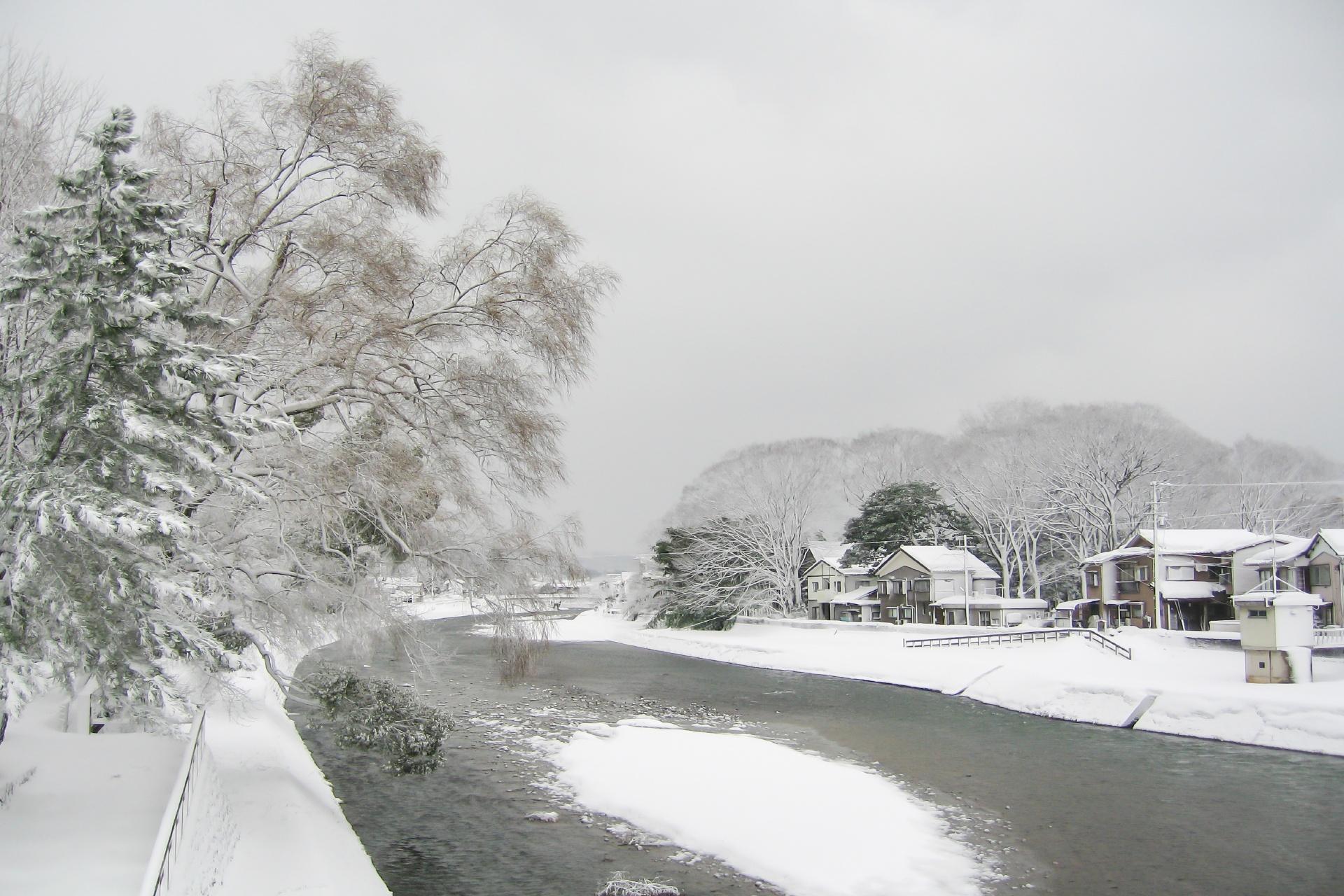 雪の金沢 犀川の風景 石川の風景