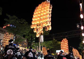 竿燈まつり 秋田の風景
