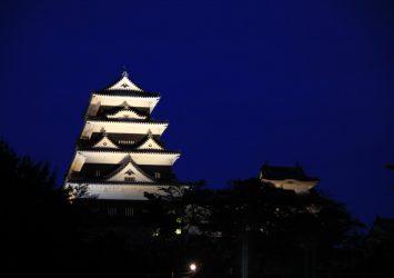 夜の大洲城 愛媛の風景